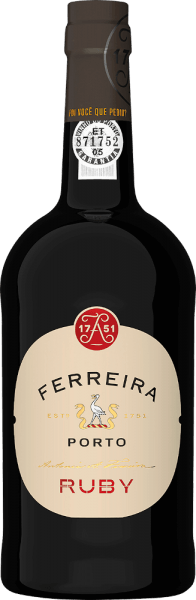 The Ruby Port of Ferreira reveals itself with an intense and well defined carmine red colour in the glass. The expressive aromas of ripe fruit are matched by the maturation in wooden barrels. Rich and heavy, it is nevertheless characterised by a fine balance between its tannic structure and sweetness. The Ferreira Ruby Port has an attractive, fine and long finish. Vinification of the Ruby Port of Porto Ferreira Due to the enormous exposure to the sun on the terraces of the Douro valley slopes during growth, the grapes develop great fullness, strength and ripeness, which characterise the typical character of the port wine. Recommended food for the Ruby Port of Porto Ferreira Whether as an aperitif or to accompany creamy cheese and chocolate desserts, this Ferreira Port is simply a good port to drink now.