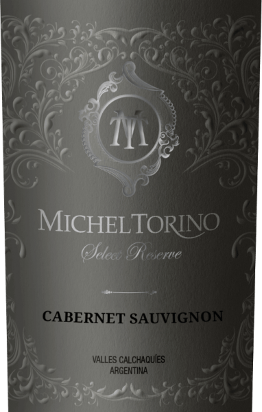 Michel Torino 's Select Reserve Cabernet Sauvignon shines in a vibrant ruby red with violet reflections. The bouquet reveals spicy aromas of pepper, freshly ground pepper and nuances of smoke and tobacco. The palate is pampered by an elegant, full-bodied character with notes of dark berry fruit, juicy cherries and white pepper. This Argentine red wine impresses with its fascinating complexity and mature tannin structure.  Vinification of Torino Cabernet Sauvignon Select Reserve The Cabernet Sauvignon grapes are carefully picked by hand in April. This red wine from Salta gains in particular its smoky aromas and tobacco notes by ageing in barriques. A total of 70% of Don David Cabernet Sauvignon is being developed in wood. Of these, 60% mature in American oak and 40% in French oak.  Food recommendation for the Select Reserve Cabernet Sauvignon Torino This dry red wine is a great accompaniment to Mediterranean starter cuisine, such as tomato soup alla caprese, roast suckling pig with fennel rosemary vegetables or with savoury cheese specialities.  Awards for Cabernet Sauvignon Torino Select Reserve Robert M. Parker. 87 points for 2015 Frankfurt Winetrophy: Silver Medal for 2015