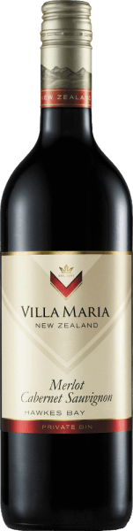 The Private Bin Merlot Cabernet Sauvignon from Villa Maria is a full-bodied, aromatic red wine cuvée from the New Zealand wine growing region Hawke's Bay on the North Island. In the glass this wine shines in a rich ruby red with glossy dark red reflections. The expressive bouquet is determined by aromas of black currants, juicy cherries and hints of cedar wood. Very full-bodied with a balanced variety of aromas, this New Zealand red wine presents itself on the palate. The elegant fruit harmonises perfectly with the fine-grained tannins that accompany the long finish. Vinification of Villa Maria Private Bin Merlot Cabernet The grapes for this cuvée come from the vineyards around Napier, Hastings and Gimblett Gravells. Once the grapes have arrived in the Villa Maria cellar, they are completely destemmed and ground. The mash is then fermented in fermentation vats. During fermentation, the mash is pumped over and flooded three times a day. After the biological degradation of acidity is completed, this wine matures for a total of 12 months in French and American oak barrels. Food recommendation for the Merlot Cabernet Villa Maria Private Bin This dry red wine from New Zealand is an excellent companion to cosy barbecue evenings or also to spicy-piquant stews and gratins fresh from the oven.