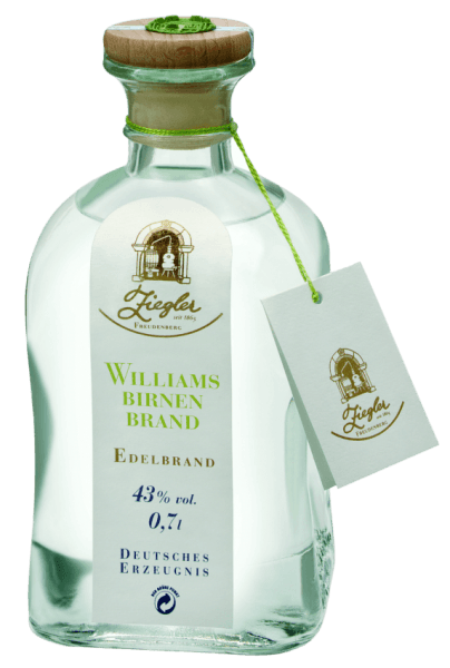 Produced only from the finest Williams Christ pears in Valais, Val Venosta and Styria, this fruit brandy is full of fruit and density. The Williamsbirnenbrand by Ziegler pampers with the varietal fruit aroma: fruity fresh, slightly floral and delicately fragrant. On the palate it is soft, mild, long, fruity and highly aromatic with racial power and an elegant, smooth finish. Due to its exceptionally fragrant and spicy aroma, it is considered the most popular among fruit brandies. Smooth, deep and with a highly aromatic spice, it is easily recognizable by its fragrance. Whether as a complement to a dessert with corresponding fruit (tarts), as a digestif or for cocktails - it fits perfectly to any occasion.