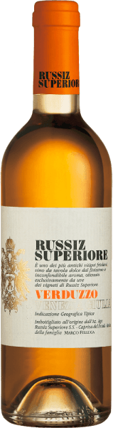 This pure dessert wine from Russiz Superiore is vinified from the grapes of the Verduzzo Friulano grape variety. Verduzzo Venezia Giulia by Russiz Superiore exudes seductively sweet aromas of apricots, quince and honey. These aromas are also reflected in the taste of Verduzzo, rounded off by nutty notes of chestnuts. Food recommendation for Verduzzo Venezia GiuliabyRussiz Superiore This dessert wine from northern Italy goes wonderfully with fruity desserts or even matured soft cheese.