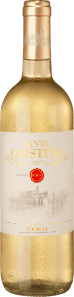 The Bianco Umbria IGT from Santa Cristina is a wonderful cuvée from Umbria with straw yellow colour. This white wine delights with intensely fruity aroma, with notes of bananas and tropical fruits typical of the Grechetto and Procanico grape varieties, but also aromas of candied fruits, typical of the Viognier. On the palate, this Italian white wine from Umbria is playful, soft and with beautiful freshness. The finish is delicately aromatic and fragrantly fresh. Vinification of Santa Cristina Bianco Umbria IGT The grapes Procaninco, Grechetto and Viognier are vinified separately, depending on the different maturation periods of the grape varieties. After gentle destemming and pressing, the must is cooled to 10°C and naturally decanted before being fermented in stainless steel tanks at low temperatures and then bottled in small quantities. Food recommendation for the Bianco Umbria IGT of Santa Cristina Enjoy this Umbrian white cuvée with fish dishes and seafood, pasta and rice as well as light meat and young cheeses. A nice wine also for banquets or for a picnic.
