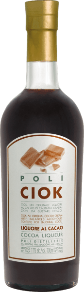 The Poli Ciok cocoa liqueur from Jacopo Poli is a creamy chocolate liqueur refined with Poli Grappa. An absolute pleasure for all chocolate fans. In the glass this liqueur presents itself in a strong chocolate brown. The intense bouquet smells wonderfully of dark fine cocoa and the typical, fine aromas of Poli Grappa. On the palate it continues naturally with lush, dark chocolate. The wonderfully creamy, creamy texture accompanies the long, persistent finish. Production Poli Ciok cocoa liqueur For this cream liqueur Poli uses fine dark chocolate, milk fresh from the milk and of course its own grappa to create this deliciously creamy, chocolaty liqueur. Serving suggestion for the Poli Ciok cocoa liqueur Jacopo Poli This chocolate liqueur is best served cool with desserts such as ice cream, pudding or cake.