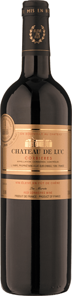 """The Les Grands Murets Corbières AOC Bio, Château de Luc by the Fabre Family is made from the French grape varieties Carigagnan and Grenache. Connaisseurs enjoy the dense, dark red color, the bouquet of aromas, dark cherries, plums and hints of bitter chocolate, cedar and liquorice. Full-bodied and spicy, tthats how this powerful red wine presents itself, the aromas of dark berries sound long after in the finale. Since 2014 all wines have been biologically certified, in 2015 they have received the award for sustainability at the highest level. Food pairing for the """"Les Grand Murets"""" Corbières AOP Bio, Château de Luc We recommend it to stewed meat and game dishes or roasted poultry, ripened hard cheeses and country-style red-cheeses."""