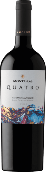 The MontGras Quatro of Viña MontGras reveals itself to the observer in a deep ruby red with purple highlights. On the nose it impresses with a unique and complex combination of aromas of the different grape varieties, ranging from ripe fruit, spices and floral notes, to hints of toast and cedar. The MontGras Quatro is firm, powerful and deep on the palate, with lots of ripe and beautifully textured soft tannins that give it structure and silkiness. Juicy, ripe black fruits are wonderfully balanced on the tongue with the vanilla and toast aromas of oak wood storage and end in a long finish. Four outstanding grape varieties produce this remarkable and unmistakable red wine, which expresses the optimal balance of ripe fruit and velvety soft tannins. Cabernet Sauvignon gives the wine backbone and complexity, while Syrah provides depth and harmony. Carmenère expresses itself in the full fruit and Malbec in the fine spice. The label uses four distinct colours to indicate the presence of the estate's four finest grape varieties. Recommended food for the MontGras Quatro from Viña MontGras Enjoy the Cuvée Quatro from MontGras with grilled and roasted meat, ragout and cheese.