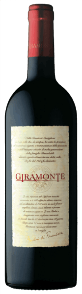 The Giramonte Toscana IGT by Tenuta di Castiglioni shines clear, vivid ruby red in the glass with slightly violet nuances. The nose reveals a rich bouquet with intense aromas of blueberry and sour cherry, hints of roasted nuts and delicate spicy notes of anise, black pepper and coffee. Complex and full-bodied, this extraordinary Tuscan red wine develops on the palate, elegant, intense and powerful in taste and has a velvety tannin structure. In the finish, long and very persistent. Vinification of the Giramonte of Tenuta Castiglioni In 1999, the Tenuta Castiglioni produced the rarest and most exclusive wine of the Frescobaldi's, where all the factors interact perfectly to create a great wine. For the Giramonte, Merlot and Sangiovese are vinified together, the maceration for the Merlot takes 25 days, for the Sangiovese 21, the malolactic fermentation immediately follows the alcoholic fermentation, then the wine is filled into barriques for ageing. After 16 months in new barriques, 6 months of bottle storage followed, only then does the Giramonte come on sale. Food pairing for the Giramonte of Tenuta Castiglioni Enjoy this exclusive and noble red wine from Tuscany with beef fillet in the pan, roasted or grilled lamb ribs or grilled or noble game. Excellent also with mild cheese. Awards James Suckling - 95 pointsFalstaff - 92 points