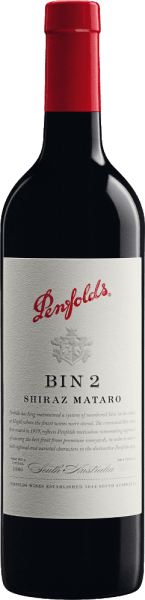 The Bin 2 from Penfolds is a concentrated, full-bodied red wine cuvée from the grape varieties Mataro and Shiraz. The grapes for this red wine grow in the Australian wine-growing region of South Australia. In the glass this wine reveals a deep dark, strong black-red colour with a deep purple core. This cuvée has a warm, aromatic, robust bouquet with hints of figs, dates, plums (prunes), quince paste and cake spices. Notes of pickled blueberries, blackberries and leather underline the aromas of the nose. On the palate this Australian red wine is full and velvety with a medium to full body and a taste reminiscent of rich berries and warm chocolate aromas. The subtle notes of oak wood and the elegantly integrated, fine-grained, almost powdery tannin add to this in the background. A fresh acidity and a long, plump finale with a spicy finish of dark berries complete this wine. Vinification of the Penfolds Shiraz Mataro Bin 2 The Shiraz and Mataro grapes are separated by origin, harvested, selected and vinified separately. The must is fermented in stainless steel tanks in the Penfolds cellar and after the fermentation process is completed, the wine matures for 8 months in French oak barriques (10% new wood) and in American oak Hogsheads. After maturing in wood, this wine is blended for the final blend and left to rest on the bottle in the cellars for some time before it leaves the Penfolds estate. Food recommendation for the Bin 2 Penfolds We recommend this dry red wine from Australia with gently stewed meat and poultry with tomatoes such as Osso buco, Coniglio alla cacciatora (rabbit in hunter's style), veal roulade in tomato sauce or Poulet basquais (Basque chicken), Provencal beef ragout (in red wine sauce), fried rabbit with prunes, gratinated eggplants or ratatouille.