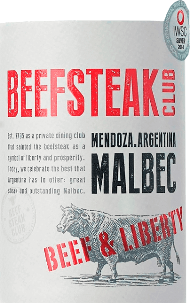 Beef & Liberty Malbec by Beefsteak Club shimmers in a deep red. The bouquet reveals intense aromas of ripe plums and subtle hints of chocolate. On the palate, a spicy, juicy and multi-layered character is evident - accompanied by fine barrique notes. The fine tannins are well integrated into the body of Argentinian red wine. Vinification of Beef & Liberty Malbec This red wine is aged in a barrique for a total of 6 months after fermentation. This gives this Malbec its subtle woody notes. Food recommendation for Beefsteak Club Malbec Enjoy this dry red wine for barbecues with the family and friends or with various vegetable sticks with dips. Awards for Malbec Beef & Liberty Berlin Winetrophy: Gold for 2017 Drinks Business Global Masters: Bronze for 2016 International Wine & Spirits Competition: Silver for 2016