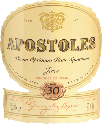 Apostoles Palo Cortado by Gonzalez Byass is an aromatic, soft sherry made from Palomino Fino (87%) and Pedro Ximenez (13%) grape varieties. This sherry shines in the glass in a warm amber tone and exudes an elegant bouquet with the fine and concentrated aromas of nuts and dried fruits - especially dates and figs. Pedro Ximénez gives this sherry hints of raisins and liquorice. On the palate, the ByassApostoles presents itself soft, intense and complex. The fine notes of caramel and precious wood are reminiscent of the long barrel maturity, the elegant nuances of raisins on the Pedro Ximénez. This sherry delights with its perfect balance of acidity and sweetness, as well as the long reverberation. Vinification for the Byass Apostoles Palo Cortado After careful harvesting by hand of the two grape varieties, the harvested goods are immediately taken to the wine cellar of Gonzalez Byass. There the grape varieties are vinified separately from each other. The Palomino Fino berries are first gently pressed. At low temperatures, this sherry is fermented dry in a stainless steel tank and then sprayed on to 18% by volume and placed in the Palo-Cortado-Soleras. The Pedro Ximenez grapes are first traditionally dried in the sun for about 2 weeks. This is followed by fermentation in a stainless steel tank and spraying to15% by volume. This wine is then placed in the Pedro-Ximenez-Soleras. The two wines mature separately for more than 12 years, are then married and now mature together for 18 years in the Apostoles-Soleras. Due to the 30-year maturity, this high-quality sherry is allowed to carry the rare quality seal (Vinum Optimum Rare Signatum). Food recommendation for the Gonzalez Byass Apostoles Palo Cortado VORS Enjoy this sherry with goose liver paste, spicy ripened cheeses or fried red meat. Tip: Serve this dessert wine in a white wine glass so that it gets room to unfold its bouquet. Awards for the Apostoles Palo Cortado Gonzalez Byass Wine Spectator: 91 points (awarded Dec