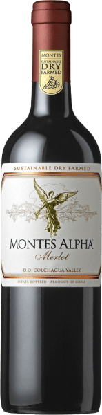 The Montes Alpha Merlot is a wonderful blend of Merlot (90%) and Carménère (10%). A deep, concentrated cherry red colour shines in the glass. In the nose, aromas of ripe red and black berries (especially strawberries) merge with juicy cherries. Fine floral notes harmonise perfectly with the spicy notes of oak wood maturity such as coffee, tobacco and vanilla. On the palate this Chilean red wine is juicy and full-bodied with an aromatic plum fruit and notes of dark baked cocoa. Velvety mature tannins give this red wine a soft texture and a long, elegant and silky finish. Vinification of Montes Alpha Merlot The grapes thrive in the vineyards of the highly acclaimed Finca de Apalta, located southwest of the capital Santiago de Chile in the Apalta Valley. The Apalta Valley has developed into one of the best - if not the best - regions for Chilean red wine. After careful hand-picking of all grapes at optimal ripeness, they are brought to the wine cellar for complete destemming and maceration. After alcoholic fermentation this wine is still on the mash to concentrate the strong aromas, the wonderful colour and the silky tannins from the berry skins. The ageing takes place for 12 months in French oak barriques. Food recommendation for the Merlot Montes Alpha We recommend this dry red wine from Chile with pasta with wild mushrooms, corn poulard, roast turkey from the oven with berry compote or chestnuts, wild poultry, shoulder of lamb or braised beef with herbs or oriental dishes.