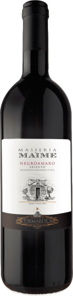 The Masseria Maime Salento IGT from Tormaresca is one of the top wines of the winery. The Negroamaro Masseria Maime appears in the glass in intense ruby red, on the nose floral scent dead of roses and violets, fresh dark fruits such as black cherries, mulberries, followed by spicy notes reminiscent of liquorice anise, cinnamon and cloves. On the palate, this wonderful red wine from Puglia is rich in fruit, elegant with balanced, soft and velvety tannins. The finish is long, dense and durable. Vinification of the Masseria Maime Salento IGT of Tormaresca For this pure Negroamaro, the grapes are harvested fully ripe manually at the end of September. The pressing is followed by maceration and alcoholic fermentation on the shells for a period of 15 days at a controlled temperature of 26 ° to 28° C. The shells are repeatedly gently pumped under with a special technique that allows very gentle and even extraction of colour, aromas and tannins. After removal from the skins, the wine is immediately transferred to French oak barriques, where malolactic fermentation and then ageing take place for 12 months. After bottling, the wine matures for another 18 months in the bottle before being sold.  Food recommendation for the Tormaresca Masseria Maime Salento IGT Enjoy this fine and fruity red wine from Puglia with typical regional dishes, orecchiette with tasty minced meat sauces or traditional chicory, grilled, red and dark meat, ripe and spicy cheeses. Awards for the Masseria Maime Salento IGT of Tormaresca Gambero Rosso: 2 red glasses for 20123; 3 glasses for 2012 Bibenda: 5 grapes for 2013, 4 grapes for 2011 Falstaff: 90 points for 2013, 92 points for 2011 Wine Enthusiast: 91 points for 2012 Wine Spectator: 90 points for 2012 James Suckling: 90 points for 2012 Wine Advocate Robert M.Parker: 90 points for 2012; 92 points for 2011 Veronelli Guide: 3 stars for 2012 and 2011 I Vini Buoni d 'Italia: 4 stars for 2012 and 2011 Luca Maroni: 90 points for 2011