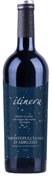 The Itinera Prima Classe Montepulciano d 'Abruzzo DOC reveals itself in the glass in a deep dark ruby red and unfolds a complex bouquet that reveals not only much dark berry fruit but also oriental spice notes of cinnamon, cardamom and some clove. This Montepulciano is full and velvety on the palate with a dense fruit fullness. The soft tannins and an elegant wood nuance round off this red wine from Italy perfectly. Vinification of the Itinera Prima Classe Montepulciano The ageing of this red wine from Abruzzo took place for 8-10 months in barriques. Food recommendation for the Itinera Prima Classe Montepulciano d 'Abruzzo  Enjoy this dry red wine with strong meat dishes, spicy pasta, Parmesan or Tête de Moine.