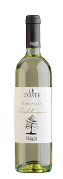 Le Coste Trebbiano Romagna DOC by Poderi dal Nespoli sparkles in the glass in a delicate yellow and exudes the delicious citrus aromas of limes and lemons. The bouquet of this wine is rounded off by floral notes and green apple. These notes are also reflected on the palate of this wine. Le Coste Trebbiano impresses with its balanced acidity and typical Trebbiano freshness. The name Le Coste comes from a local dialect expression that refers to the slopes on which the vineyards of the Poderi dal Nespoli lie. Food recommendation for Le Coste Trebbiano Enjoy this dry white wine with appetizers, pasta, fried fish or crab salad.