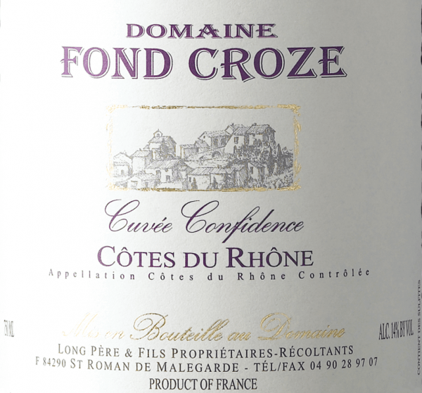 With the Domaine Fond Croze Cuvée Confidence Rouge Côtes du Rhône, a first-class red wine comes into the curved glass. Here it shows a wonderfully dense, crimson color. The first nose of the Cuvée Confidence Rouge Côtes du Rhône presents nuances of blueberries, black cherries and blackcurrants. The fruity components of the bouquet are complemented by even more fruity-balsamic nuances. This dry red wine from Domaine Fond Croze is just right for purists who like it absolutely dry. The Cuvée Confidence Rouge Côtes du Rhône is already quite close to this, as it was only bottled with 1.5 grams of residual sugar. On the palate, the texture of this powerful red wine is wonderfully velvety and fleshy. Due to the moderate fruit acidity, the Cuvée Confidence Rouge Côtes du Rhône flatters with a soft mouthfeel, without missing out on juicy liveliness. In the finish, this red wine from the Northern Rhône Valley wine-growing region finally inspires with good length. Again, there are echoes of black cherries and shadow morals. Vinification of the Domaine Fond Croze Cuvée Confidence Rouge Côtes du Rhône The basis for Domaine Fond Croze's first-class and wonderfully powerful Cuvée Cuvée Confidence Rouge Côtes du Rhône are Garnacha and Syrah grapes. After the harvest, the grapes reach the winery in the fastest way. Here you will be sorted and carefully broken up. This is followed by fermentation in stainless steel tank and concrete at controlled temperatures. Once fermentation is complete, the Cuvée Confidence Rouge Côtes du Rhône can continue to harmonise for 24 months on the fine yeast. Food recommendation for Domaine Fond Croze Cuvée Confidence Rouge Côtes du Rhône Enjoy this red wine from France best tempered at 15 - 18°C as an accompanying wine with cod with cucumber mustard vegetables, spaghetti with caper tomato sauce or veal table top with beans and tomatoes.