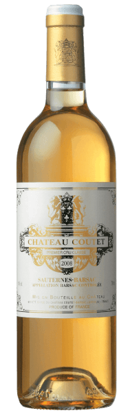 This noble sweet, strong golden-yellow blend reflects gold shining in the glass. The fresh and flowery bouquet of the Château Coutet 1er Cru Classé Sauternes-Barsac from Château Coutet smells of lush aromas of raisins, fresh chamomile, mirabelles and acacia honey. The intense and juicy palate is soft. The sensual and straight aftertaste presents itself with an elegant and medium aftertaste. An exquisite white wine with great potential, perfect with foie gras, delicate fish dishes (turbot or sea bass with saffron-orange sauce), blue cheese (Roquefort, Fourme d'Ambert), crispy fruit tart with apples, peach, apricots or oranges, fruit salads and desserts with caramel or brittle (pineapple parfait with almond brittle, crème brûlée).