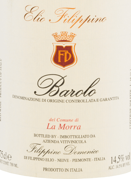 Elio Filippino's La Morra Barolo DOCG comes in a bold garnet red colour with orange highlights.  The intense bouquet is characterized by a complex variety of aromas of ripe berries - especially raspberries and blackberries. This is accompanied by subtle hints of grapes and dark chocolate. On the palate, this Italian red wine pampers with a body-rich, sustainable character that does not lose its elegance despite all its strength. The finale is wonderfully long lasting and is accompanied by berry tones. Vinification  of Elio Filippino La Morra Barolo The Nebbiolo grapes for this grape-varietal wine are harvested by hand and carefully selected in Elio Filippino's wine cellar. The mash is then fermented in a temperature-controlled manner. This wine rests in Slavonic oak for a total of 24 months after completion of the fermentation process.  Food recommendation for Barolo Elio Filippino La Morra Enjoy this dry red wine from Italy with all kinds of dishes with game with cranberry sauce, with matured cheeses, but also with desserts with fresh fruits.