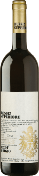 This varietal Pinot Grigio from Russiz Superiore is produced in THE DOC Collio area. It also achieves complexity by fermenting some of the grapes in oak barrels. This lively Italian white wine pampers with a bouquet of pears and ripe apples as well as a nuance of broom.  This Pinot Grigio from Russiz Superiore is characterized by its well-integrated acidity, deliciously sustainable finish and delicious fruit aromas. Food recommendation for Pinot Grigio Collio by Russiz Superiore This Pinot Grigio is a delicious all-rounder for Mediterranean cuisine with light meat, or for an upscale buffet or party. Awards for  the Pinot Grigio Collio by Russiz Superiore Wine Spectator: 88 points for 2014 Wine Enthusiast: 91 points for 2012 Gambero Rosso: 3 glasses for 2011