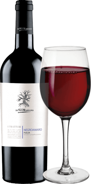 The I Tratturi Negroamaro from Cantine San Marzano is a balanced, harmonious and grape varietal red wine from the Italian wine region Puglia. In the glass, this wine appears in a strong purple red permeated with violet-black nuances. Concise and warm, the bouquet with distinct aromas of blackcurrant, as well as dark forest berries and Mediterranean herbs, especially thyme. Here, this Italian red wine already shows its warm and deep-looking character, which is even more concise on the palate. This is a medium-heavy red wine, which nevertheless reveals itself to the palate with a fruity intensity and presence that skilfully resumes the aromas of cassis, wild blackberry and thyme. This red wine concludes with a long, soft finish. Vinification of the Cantine San Marzano I Tratturi Negroamaro Made from native Negroamaro grapes, I Tratturi Negroamaro Puglia from Cantine San Marzano is a varietal wine. The Negroamaro was fermented in the steel tank for 10 days at a controlled temperature on the mash. For further expansion, it remains in the steel tank. Food recommendation for the I Tratturi San Marzano Negroamaro At a drinking temperature of 14-16°C, enjoy this dry red wine from Italy with grilled red meat, such as steak or lamb carré. But also with barbecue and Mediterranean spiced dishes harmonizes this Negroamaro wonderfully.