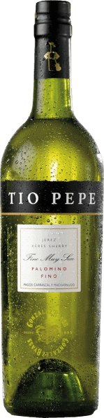 "The pure Tio Pepe Palomino Fino from Gonzalez Byass is a very elegant, finely mineral sherry from the Spanish DO Jerez wine region.  When Manuel Martia Gonzáles took over his first bodega in 1835, his uncle José stood by him as an experienced sherry connoisseur. Uncle José - Tio Pepe - gave Manuel a lot of advice on how to make elegant finos. In his honor, today's world-famous sherry ""Tio Pepe"" was baptized. In the glass, this wine shimmers in a light gold tone with straw yellow highlights. The fine bouquet reveals wonderful aromas of juicy apples, fresh almonds and pickled olives. In addition, there are nuances of freshly baked bread and dried herbs, especially lovage. On the palate, this sherry convinces with a lively, very fresh body, which is bound by a racial acidity. Again, aromas of almonds, olives and some apple emerge - accompanied by a breeze of sea salt. The texture is wonderfully light and full-bodied, which then glides into a long, elegant finale.  Vinification  of Tio Pepe Gonzalez Byass Palomino Fino After the careful harvesting of the Palomino Fino grapes, the harvested goods in the wine cellar of Gonzalez Byass are completely destemmed and gently ground. At low temperatures, this sherry is fermented and then sprayed onto a 15 to 15.5 volume percent and placed in oak barrels (600 to 650 liters). Finally, this  varietal Palomino Fino matures for 5 years according to the classic method of the winery in the proven brine system.   Food recommendation for the Palomino Fino Tio Pepe Byass Enjoy this dry sherry with all kinds of snacks - such as salted almonds, olive variations or nuts - or with dishes of Asian cuisine. Well chilled, this sherry can also be served as an aperitif.  Award for  the Gonzalez Byass Palomino Fino Tio Pepe Guia Penin: 94 points (Edition 2019)"