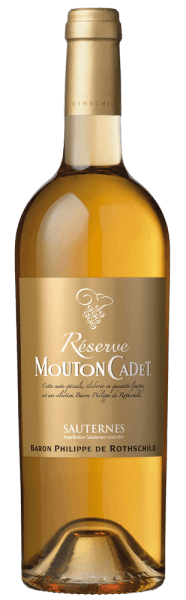 The Mouton Cadet Réserve Sauternes AOC by Baron Philippe de Rothschild shines bright golden in the glass. The complex bouquet opens in a mix of white and yellow fruits like peach, apricots, mirabelle and quince, as well as fresh, gentle notes of aniseed and bergamot with a touch of honey and orange zest in the background. On the palate, this typical and elegant Sauternes is lushly aromatic, gentle, juicy, powerful and rich, body and sweetness are superbly balanced. In the long finish, sweet aromas of yellow fruit appear, with nuances of apricots and caramel, with a pleasant freshness in the aftertaste. Vinification of the Mouton Cadet Réserve Sauternes by Baron Philippe de Rothschild The grapes for this sweet wine grow in the region of Sauternes at the confluence of the small river Ciron in the warmer Garonne. In the autumn, fog and humidity favor the formation of the botrytis cinerea, which causes the grapes to shrink and concentrate on sugar, acidity and other ingredients.For this Réserve Sauternes from the Mouton Cadet wine line, 91% Semillon, 6% Sauvignon Blanc and 3% Muscadelle grapes are vinified. They are harvested by hand, then gently pressed and then left on the mash for an extended period of time. The alcoholic fermentation takes place over several days. The fermentation process is stopped before the whole sugar has converted into alcohol. This gives the wine its sweetness and its unique taste.The Mouton Cadet Réserve Sauternes is a successful example of a first-class Sauternes with an excellent price-performance. Food pairing for the Mouton Cadet Réserve Sauternes by Baron Philippe de Rothschild Enjoy this exquisite French sweet wine from the region of Sauternes in the classic way to the paté de foie grass, to rich and spicy cheeses with noble molds or ripened, to fruity and creamy desserts and dry bisquits. Awards Falstaff - 92 points for 2012International Wine & Spirit Competition - Silver for 2012 and 2014