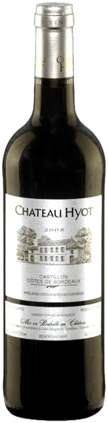 Château Hyot Côtes de Bordeaux Castillon from Château Hyot envelopes the glass in dense, dark purple. Its bouquet reflects the home terroir of the grapes in an especially expressive manner. Plenty of spicy, elegant fruitiness from plums, Morello cherries and wild berries with mineral nuances are accompanied by fine, toasted oak notes. It is straightforward, enormously elegant, and is full and bold on the palate with a good balance of juicy fruit, mature tannins, crisp acidity and zest. A distinctly fruity plum flavour preceeds a well-balanced, long finish with gentle minerality and an aromatic hint of toast. Serve this delicious mélange with grilled steaks, cutlets and juicy lamb or beef roasts with a generous amount of rosemary and gently stewed tomatoes or mushrooms, but also with light oriental spices and piquante cheeses.