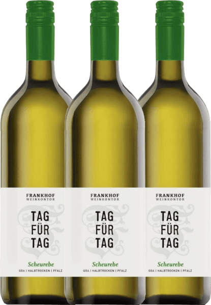 3er Vorteils-Weinpaket - Tag für Tag Scheurebe halbtrocken 1,0 l 2020 - Frankhof Weinkontor