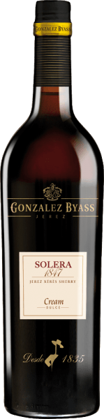 Solera 1847 Cream from Gonzalez Byass is an aromatic, sweet sherry made from Palomino Fino (75%) and Pedro Ximenez (25%) grapes. The grapes grow in the Spanish wine-growing region DO Jerez. On the occasion of the birth of his first son in 1847, Manuel María González founded the Solera in 1847. In the glass this wine sparkles in a shining amber with golden highlights. Intense aromas of raisins, dried figs and fine oak notes caress the nose. The palate is taken over by this sherry of a full-bodied, soft body with juicy sweetness. Dried plums blend with aromas of nuts and elegant Solera oak to create an elegant fullness. The aromatic finale has a never-ending finish. Vinification of Byass Solera 1847 Cream The grapes for this sweet sherry are harvested and vinified separately. First the berries are fermented in stainless steel tanks and then sprayed to 18 percent by volume. This sherry is then ripened in oak barrels (600 litres) in two separate Solera systems, separated by grape variety. When the first ripening period of about 3 years has been completed, the two sherry varieties are married and placed in the old Solera 1847 for a further 5 years. Recommended food for the Cream Solera 1847 Gonzalez Byass This sweet sherry is an excellent companion to all kinds of desserts - whether with fresh fruit, nuts, chocolate or cream ice cream. But this sherry also goes perfectly with small snacks (roasted almonds) or spicy cheeses. Awards for the Solera 1847 Cream Gonzalez Byass Mundus Vini: Gold (awarded August 2013) International Spirits Challenge (ISC): Gold Medal