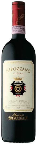 The Nipozzano Riserva Chianti Rufina DOCG by Castello di Nipozzano Estate by Frescobaldi shows itself in a clear vigorous purple red. The intense and complex bouquet is dominated by floral and fruity aromas such as raspberry, blackberry, blueberry, followed by roasted and spicy notes such as nutmeg, coffee and tea. On the palate warm, soft and pleasantly spicy with beautifully integrated tannins, fresh and elegant. Long and persistent finish.