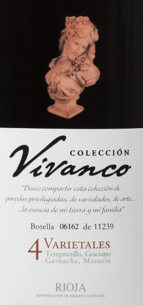 The Colección Vivanco 4 Varietales is an excellent red wine cuvée full of elegance and complexity and is vinified from the grape varieties Tempranillo (70%), Graciano (15%), Garnacha Tinta (10%) and Mazuelo (5%). In the glass, this wine presents itself to a wonderfully strong garnet red. The bouquet seduces with a powerful and complex play of aromas with notes of ripe, red and dark berries, floral elements, caramel tones, chocolate and vanilla from well-integrated wood. On the palate, this wine is fresh and lively, the tannins are soft and the long, elegant finish shows ripe berry aromas again. The bottle was modelled on an 18th-century wine bottle exhibited at the Vivanco Museum of Wine Culture. Vinification of the Colección Vivanco 4 Varietales After carefully picking the grapes in the Spanish region of Rioja, the grapes are carefully selected, destemmed and pressed in the wine cellar. Temperature-controlled mash fermentation takes place in barriques with this wine. This red wine then matures for a total of 24 months in French oak barrels. Food recommendation for the Colección 4 VarietalesVivanco This dry red wine from Spain goes perfectly with fillet or roast beef with bittersweet sauce, but can also be combined with other dishes with red meats. We recommend decanting this wine at least one hour in advance. Awards for Vivanco4 VarietalesColección Mundus Vini: Gold for 2014 Guía Peñín: 90 points for 2014