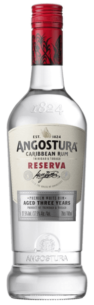 The Angostura Caribbean Rum Reserva 3yo unfolds the fine aromas of exotic fruits, bananas and coconut. This rum from Trinidad & Tobago presents itself on the palate exceptionally gentle and soft. The notes of the bouquet are reflected and complemented by a hint of vanilla. Production of the Caribbean Rum Reserva 3yo from Angostura After distillation in a five-column firing apparatus, this white rum is stored for 3 to 5 years in old American oak bourbon barrels. Serving recommendation for the Caribbean Rum Reserva 3yo from Angostura Enjoy this Caribbean rum as a base for classic long drinks and cocktails.