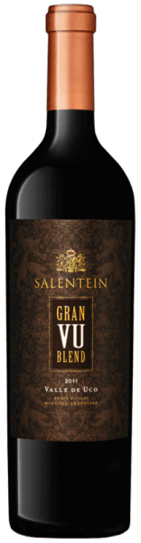 The Gran VU Blend by Bodegas Salentein glows deep red in the glass with violet reflections. The aromas of dark fruits, liquorice and mint unfold. This red wine is dense on the palate and complex with soft and elegant tannins. This spicy and body-rich wine from Argentina ends in a very long finale. Vinification for the Salentein Gran VU Blend This cuvée from the Valle de Uco (VU) is vinified from the grape varieties Malbec (73%) and Cabernet Sauvignon (27%). After harvesting, the grapes are fermented in French oak barrels and matured for 24 months. Food recommendation for the Salentein Gran VU Blend Enjoy this dry red wine with fried beef fillet or with Osso Bucco a la Milanese. Awards of the Salentein Gran VU Blend Robert Parker: 93 points for 2011 Tim Atkin: 94 points for 2011 Wine Spectator: 91 points for 2011