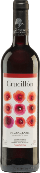 The Crucillón from Bodegas Aragonesas is a wonderful Spanish red wine cuvée made from Tempranillo (50%) and Garnacha Tinta (50%). The bright red, violet shimmering colour of this wine reminds of ripe cherries. Strong and fruity, this Spanish red wine smells of black and red fruits (cherries, blackberries, blackcurrants, raspberries). The full, balanced and slightly sweet taste is supported by a dense, round body and leads into a soft and appealing finish of medium length. Vinification of Crucillón Garnacha Tempranillo The grapes of the Bodegas Aragonesas, most of which are harvested manually and some of which are fully ripe, are first destemmed, mashed and the resulting mash fermented in temperature-controlled stainless steel tanks. Then the mash is pressed and this wine matures for a while in the stainless steel tanks before it is filled onto the bottle. Food recommendation for the Aragonesas Crucillón Serve this dry red wine from Spain with pasta with dark sauces, well seasoned meat dishes and cheese.