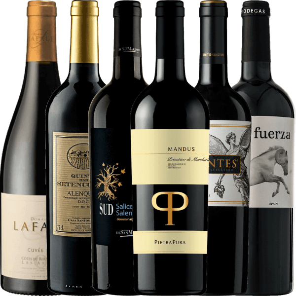 Ho Ho Ho! Christmas is over, but for the most beautiful winter days of the year we still have the 6-pack in our assortment for you. Six wonderful dry red wines that not only sweeten the Advent season. The 6-pack of dry wines includes: 1 bottleof Mandus Primitivo di Manduria DOC from Pietra Pura 1 bottle of Léa Les Aspres AOC from Domaine Lafage 1 bottleof Quinta das Setencostas Alenquer DOC from Casa Santos Lima 1 bottle OF SUD Salice Salentino from Cantine San Marzano 1 bottleof Fuerza Jumilla DO from Ego Bodegas 1 bottleLimited Selection Cabernet Sauvignon Carmenère from Montes