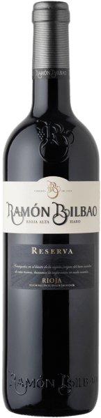 Ramón Bilbao's Rioja Reserva DOCa glows in a dark garnet red in the glass. On the nose it shows a complex, intense bouquet, with aromas of ripe red fruits typical of Graciano and Mazuelo grape varieties. Beautiful acidic notes, as well as black fruits, the Tempranillo grape gives this wine with hints of cherries. In the background, spicy notes of vanilla, cinnamon, nutmeg, cedar wood and tobacco are noticeable. On the palate, this red wine cuvée is body-rich, full-bodied, very balanced. Very ripe, soft and round tannins end in a long, tasteful finish with elegant roasted aromas and the interplay of red and black fruits. Vinification of the Rioja Reserva DOCa of Ramón Bilbao This red wine is one of the classics from Ramón Bilbao. It is vinified from 90% Tempranillo and 5% each from Mazuelo and Graciano, two traditional grape varieties from the Rioja wine region. These two grape varieties give the cuvée a certain acidity and longevity. The wine is fermented in stainless steel tanks with short maceration times, then aged for 20 months in American oak barriques. After bottling, it matures for another 20 months in the bottle to achieve its perfect balance. Food recommendation for the Rioja Reserva DOCa of Ramón Bilbao Enjoy this dry red wine with Iberico ham, strong meat dishes or cheeses such as pecorino, cheddar and comté.