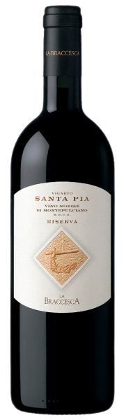The Vigneto Santa Pia Vino Nobile di Montepulciano Riserva DOCG by Tenuta La Braccesca shines intensely ruby red in the glass, on the nose opens a bouquet with fragrances reminiscent of leather and tobacco, together with aromas of ripe red fruits and spices. On the palate, this beautiful Vino Nobile Riserva Cru presents itself tastefully, captivating with sweet, flattering and velvety tannins, good structure and round, harmonious body. The finish is long lasting and sustainable. Vinification of the Vigneto Santa Pia Vino Nobile di Montepulciano Riserva DOCG of La Braccesca The Sangiovese grapes for this elegant red wine grow in the 15-hectare Santa Pia vineyard, one of the most prestigious locations for the production of Vino Nobile di Montepulciano. The Sangiovese clones have been carefully selected over the years with the aim of creating a cru that best expresses the character and terroir. The Snagiovese grapes from the Santa Pia vineyard are rigorously harvested by hand around mid-October. After destemming and gentle pressing of the grapes, the must is filled into stainless steel tanks, where the alcoholic fermentation takes place at a controlled temperature in order to optimally preserve the grape variety typical aromas of the Sangiovese. After maceration on the peels for 20 days, the wine is transferred to 500 l Tonneaux for malolactic fermentation and subsequent ageing for 12 months. After bottling, the wine matures for another 20 months in the bottle before being sold. This Vino Nobile di Montepulciano Riserva Vigneto Santa Pia is a very nice example of complexity, intensity, nobility, elegance balance and harmony. It has a storage potential of at least 15 years. Food pairings for La Braccesca Vigneto Santa Pia Vino Nobile di Montepulciano Riserva DOCG Enjoy this elegant Vino Nobile Riserva with sophisticated preparations with red and dark meat, braised and grilled, mature cheeses or simply solo. Awards for the Vigneto Santa Pia Vino Nobile di Montepulciano R