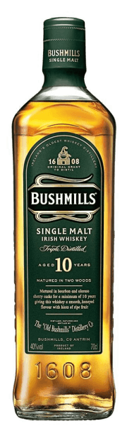 "The flavours of the Bushmills 10 Years are lively, light and sweet. Honey and ripe fruits play around the nose. The taste of this Irish whiskey is pleasantly malty and sweet, with a hint of vanilla and fine sherry notes. In the finish, it is pleasantly long, fresh and dry. Production of the Bushmills 10 Years Single Malt Whiskey Like all Bushmills malts, this whiskey is distilled three times. After traditional production, the mash contains unmalted barley and drying over the peat smoke is completely dispensed with. The Bushmills 10 Years Single Malt Whiskey is made from 100% malted barley, then matures for most of the 10 years in bourbon barrels and for a short time in sherry barrels in which it gets its finish. Serving recommendation for the Bushmills 10 Years Single Malt Whiskey Enjoy this whiskey pure and at room temperature, which allows the free and unadulterated unfolding of the aromas.  Awards for the Bushmills 10 Years Single Malt Whiskey San Francisco World Spirits Competition: Gold (2015, 2013,2012) Wizards of Whiskey Awards: Gold (2015,2014) International Wine & Spirit Competition: ""Outstanding"" Gold (2014)"