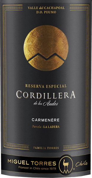 Miguel Torres Chile's Cordillera Carmenère is a grape varietal, aromatic red wine from the Valle de Curico in the Valle Central wine region.  In a very deep ruby red with strong red shades, this wine is presented in the glass. An expressive bouquet with varietal aromas unfolds in the nose - ripe blackberries and juicy currants merge with notes of eucalyptus and leather, accompanied by fine notes of cloves, bay leaves and black pepper. The body is wonderfully full-bodied on the palate with round tannins that are perfectly integrated. The aromas of the nose also pamper the palate and are accompanied by subtle spices and roasting notes of the barrel maturity. With a pleasant, persistent length, this Chilean red wine closes.  Vinification of the Torres Cordillera  Carmenère After harvesting the grapes, they are almost strictly selected, destemmed, ground and mashed in the wine cellar. The mash is then fermented for 7 days at a controlled temperature of 28 degrees Celsius in a stainless steel tank. The maceration time for this red wine is one month. This wine is then gently removed and aged in French oak barrels for a total of 11 months. Of these, 30% are new wood and 70% are secondary barrels.  Food recommendation for  the Carmenère Miguel Tores Cordillera Enjoy this dry red wine from Chile with strong meat dishes from the oven - such as lamb roasts with rosemary potatoes - with freshly grilled or matured hard cheeses.