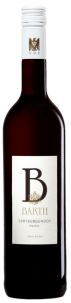The Spätburgunder trocken QbA from Wein- und Sektgut Barth shimmers in the glass in a dark wine red and unfolds the fine aromas of cherries and wild berries. On the palate this Pinot Noir is full-bodied and velvety. The varietal berry notes are unmistakable. Vinification for the Barth Pinot Noir The grapes for this red wine have been carefully and selectively read. The mash fermentation is followed by the aging in large oak barrels and barriques. Food recommendation for the Barth Pinot Noir Enjoy this dry red wine with grilled beef, roasted venison medallions or mild cheese by the log fire.