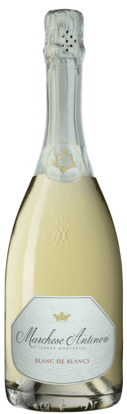 """The Marchese Antinori Blanc de Blancs Franciacorta DOCG by Tenuta Montenisa of Marchesi Antinori shines in pale yellow in the glass, the creamy foam edge is formed by a finely rising and sustainable perlage. On the nose, a floral and fruity bouquet unfolds with aromas reminiscent of white peach and apple. On the palate, this spumante presents itself lively, fresh, balanced and extremely elegant. The finale is harmonious, floral refreshing and sustainable. Vinification of the Marchese Antinori Blanc de Blancs Franciacorta DOCG by Tenuta Montenisa The Blanc de Blancs Franciacorta belongs to the """"Classici"""" line of the Tenuta Montenisa. For this spumante, especially Chardonnay 85% is vinified with a small proportion of Pinot Blanc 15% from the estate's vineyards. The young must is subjected to alcoholic fermentation in the stainless steel tank, followed by malolactic fermentation in the bottle on the fine yeasts over a period of 24 months. Food recommendations for the Marchese Antinori Blanc de Blancs Franciacorta DOCG by Tenuta Montenisa Enjoy this fine Blanc de Blancs Franciacorta as an ideal accompaniment to an aperitif, appetizers and pasta or rice dishes with fish. Its pronounced freshness makes it an ideal sparkling wine for a nice finish after dinner."""