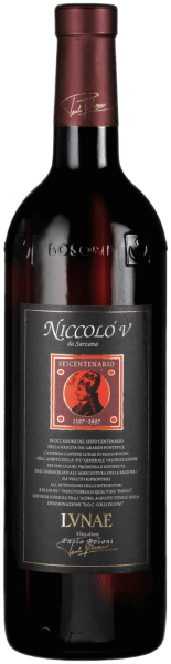 The colour is ruby red and shines with violet sparkling reflections.Even the nose suggests the quality of the Niccoló V Riserva. The fragrance is incredibly complex with notes from spicy black pepper and cinnamon, musk, leather to tobacco, chocolate and red fruit jam. Deceptive and not wanting to end at the same time.On the palate, this top-class red wine unfolds its full potential. One is in fact overwhelmed by masculinity and strength. A wine like his terroir - especially. On the palate, this structured wine of the Cantine Lunae is warm and convincing, with a lot of personality. Drink this wine from a Bordeaux glass to give it the necessary size.It is best to drink the Niccolò V with meat dishes such as Florentine steak, deer or matured cheese. Facts about the construction and extension of the Niccolò V Colli di Luni DOC of the Cantine Lunae The vineyards in which the vines have been rooted for several decades range from Castelnuovo Magra to Ortonovo.The 40-year-old Merlot, Pollera Nera & Sangiovese vines, which form the cuvée for the Niccolò V Riserva Colli di Luni DOC of the Cantine Lunae, stand on skeleton-rich vineyards interspersed with pebbles. The dense planting with 4500 sticks per hectare brings the vine a natural competition and the wine strength and depth. After the fully ripe grapes have been harvested in the course of September, they are carefully fermented in stainless steel at a maceration time of about 15 days. Alcoholic fermentation is followed by an 18-month ageing period in barriques and a 6-month ageing period in the bottle before it can be sold. Food recommendation for the Niccoló V Colli di Luni DOC A wine of great personality that goes well with rich dishes such as roasts, stews and spicy blue cheese. Awards for the Niccoló V Riserva Colli di Luni DOC by Lunae  Decanter: 95 pts./gold medal (Vol. 08) Wine Spectator: 90 pts. (Vol. 09)