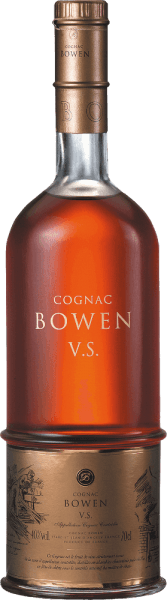 Cognac VS from Cognac Bowen is a seductive, elegant brandy made from Ugni Blanc (80%), Colombard (15%) and Folle Blanche (5%) grapes.  In the glass, this cognac shimmers in a dark gold with amber highlights. The aromatic bouquet offers notes of flowers, fruity aromas of pears and plums as well as hints of nuts - the ageing in limousine oak adds delicate shades of vanilla. On the palate, the gentle personality is enveloped by a powerful body with vibrant fruit fullness. The floral aroma of the nose is further accompanied by slightly spicy wood notes. The elegant finale has a beautiful length.  Vinification of the Cognac Bowen VS The grapes for this cognac are harvested very early and fermented to a strong acidic white wine. The acid protects against oxidation as cognac is not sulphurized. This base wine is now distilled twice in a copper burner using the  traditional Charentaiser distillation process. Wooden barrels made of limousine oak are selected for maturation. This cognac matures for at least 2 - 3 years.  Serving recommendation for the Bowen Cognac VS Enjoy this French brandy simply solo - whether pure or on ice - or serve this cognac as a digestif with coffee.