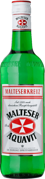 """The original Danish recipe of the Malteserkreuz Aquavit has been unchanged since 1924. The secret of this elegant classic is the exclusive use of extra finely filtered alcohol and the selected spices. Cumin and dill in particular characterize the taste. In the finish, subtle notes of citrus fruit can be seen. History of the Aquavit Maltese Cross Today, the Aquavit Maltese Cross has more friends than ever and is considered No. 1 in the Aquavit area in Germany. When the Malteserkreuz Aquavit was inaugurated in Berlin in the mid-20s, life flourished in the capital. The aftermath of the war and inflation were clearly fading and people fell on everything that promised pleasure and enjoyment. It was the wedding of the metropolis Berlin in the """"roaring twenties"""". It was the time when you danced the shimmy, the women wore a cheeky bubi head and you could finally treat yourself to some pleasure again in good conscience. The first bottles of the Malteser Kreuz Aquavit went to Berlin's prestigious hotels Eden and Adlon. At that time, the bottles were still hand-labelled, packed in white wrapping silk and neatly stored in wooden boxes. Serving recommendation for the Malteserkreuz Aquavit Enjoy the Malterserkreuz Aquavit ice-cold pure or as a """"Viking deck"""", along with a cool beer with fish dishes."""
