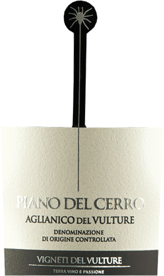 The Piano del Cerro Aglianico del Vulture by Vigneti del Vulture is a varietal Aglianico from the south of Italy that inspires with a warm and full character. Delicious notes of red fruits as well as pleasantly balsamic and spicy hints make this full-fruity red wine a first-class palate. The Piano del Cerro Aglianico del Vulture DOC by Vigneti del Vulture has a warm and full character. The bouquet of this fantastic red wine from Basilicata pampers with wonderful notes of red fruits as well as pleasantly balsamic and spicy notes. Vinification of the Piano del Cerro The Aglianico grapes for this top red wine from Basilicata grow on volcanic soils that make UP THE special potential of THE DOC Aglianico del Vulture. After harvesting, the grapes are selected twice and the berries are gently detached from the stems. Vinification is then carried out in small oak containers with a total maceration time of 25-30 days. Every 6 hours, the pomace (the grape skins floated by the CO2 above) is manually circulated to ensure optimum extraction of colours and flavourings. Then the Piano del Cerro matures for a whole 24 months in new barriques, in which it also undergoes the malolactic acid conversion. Interesting facts about the Aglianico Piano del Cerro The small spider hanging on the label pays homage to a very special Southern Italian dance - the Pizzica. This was originally danced to heal people stabbed by the tarantula. With all kinds of instruments such as fiddles, violins, mandolins, guitars, flutes or harmonicas, people rushed to help those who had been stabbed since the late Middle Ages. They had to dance to the music until they collapsed exhausted. Unfortunately, there is not much to report about the success of the treatment, but the dance has remained to this day, as has the small tarantula on the bottle, which reminds of tradition. Food recommendation for the Piano del Cerro On the palate, the Piano del Cerro by Vigneti de Vulture presents itself as a complex and well-balanced red wine that goes perfectly with meat dishes or mature hard cheese.  Awards for the Vigneti del Vulture Piano del Cerro Sydney International Wine Competition: Blue Gold for 2015 AWC Vienna: Gold for 2013 Wine Spectator: 90 points for 2013 Selections Mondiales de Vins Canada: Gold for 2013 Wine Spectator: 93 points & TOP 100 for 2012