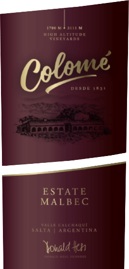 This flagship of the bodega is largely extracted from Malbec, which is blended with small batches of Cabernet Sauvignon, Syrah, Petit Verdot and Tannat. The small, thick-skinned berries of the Malbec grapes come from vines over 150 years old and give this drop its complex aroma and multi-layered texture. The Colomé Estate Malbec by Bodega Colomé presents itself in a very dark cherry red. Delightful aromas of ripe black berries (currant, blackberry) are surrounded by chocolate notes and a peppery spice. Delicate wood notes round off the multi-layered aroma. The supple body bursts with juiciness and minerality in the mouth. A complex arrangement of blackberries, black cherries, full-bodied spice and wonderfully integrated rust tones fills the palate. The lush and powerful structure of this wine is surrounded by ripe, silky soft tannins. The taste fades salty minerally and leads to a long-lasting, full-bodied finish. Food recommendation for the Colomé Estate Malbec Enjoy this dry red wine with steaks, grilled meat, game and lamb. Awards for Colomé Estate Malbec Year 2012: Robert M. Parker 90 points Wine Spectator 88 points Mundus Vini 2015 Gold