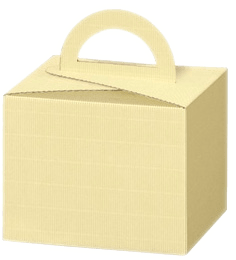 Carrying box cream open wave with handle- Small carrying box with handle- inside white- suitable for small treats, 199 x 199 x 151 mm