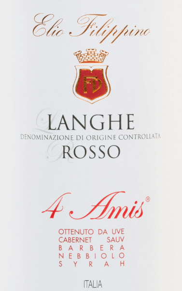 The 4 Amis Langhe Rosso from Elio Filippino is a wonderful Italian red wine cuvée made from the Cabernet Sauvignon (50%), Barbera (25%), Nebbiolo (20%) and Syrah (5%) grape varieties. In the glass this wine shines in a strong ruby red colour with purple highlights. The bouquet is dominated by aromas of ripe plums, fresh blackberries and subtle hints of paprika. On the palate this red wine reveals its full complexity - the aromas of the nose harmonise perfectly with the well-structured body and the soft tannins. The finale is long, elegant and with fine fruity nuances. Vinification of Elio Filippino 4 Amis Langhe Rosso After careful hand-picking of the four different grapes, they are selected and crushed in the wine cellar. The mash is then fermented in temperature-controlled stainless steel tanks. The strong colour, the expressive aroma profile and the soft tannin structure are ensured by the wood ageing in French oak barrels for a total of 18 months. Food recommendation for the 4 Amis Elio Filippino Langhe Rosso Enjoy this dry red wine from Italy with hearty roast dishes with vegetables, wild boar ragout or matured cheeses. But also Solo this wine is a true pleasure.