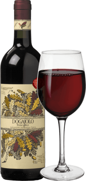The Dogajolo Toscano Rosso by Carpineto is the classic among baby supertuscans. As with all Super Tuscans, the Chianti Sangiovese vine is the heart of the wine at Dogajolo Rosso. In addition, Cabernet Sauvignon and other grape varieties are added. The colour of the Dogajolo Rosso is best described with a bright cherry red. It lies mid-dense in the glass and smells elegantly of ripe sour cherries, complemented by some pomegranate and red currant. Delicate shades of vanilla and a fine hint of oak complement. On the palate, the Dogajolo Toscano Rosso is pleasantly fresh, lively and grippy. Presents but well integrated tannins and a fresh fruit acid give the wine a feel and character. An excellent food companion who does not give up his mind even with a rich, greasy diet. Vinification of Dogajolo Toscano Rosso The grapes are harvested separately according to grape varieties and vinified separately. They then mature in small, used oak barrels, in which the biological acid conversion also takes place. After bottling in March and April of the following year, this red wine from Tuscany is sold directly, but can also be aged for several years without any problems. Food recommendations for the Dogajolo Toscano Rosso by Carpineto Enjoy this Tuscany cuvée with hearty meat dishes, grilled beef and pork or with a hearty sausage plate with good farmhouse bread. Of course, the Dogajolo Rosso also goes great with pasta dishes with meat or tomato sauces. Awards for the Carpineto Dogajolo Rosso Selection: 3 stars (very good) for 2015 Wine Enthusiast: 86 points for 2015 Wine Spectator: 86 points for 2014 Wine Align: Top Value for 2012 World Wine Award of Canada: Gold for 2012