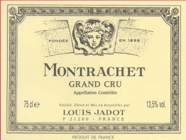 This clear and deep golden Grand Cru is one of the largest and most famous representatives of the 'Côte des Blancs' in the south of the Côte de Beaune. The nose of Louis Jadot's Montrachet Grand Cru is pampered with a complex and aromatic bouquet of honeysuckle, jasmine, honey, almonds, saffron, cake spices, vanilla, ripe apples, peach and fine toasted notes. The lush, powerful, muscular, lively and supple palate offers slightly nutty spicy aromas and a ripe fruit before it lingers in the finish. Altogether a balanced, powerful and spicy white wine with a lot of melting and grandiose potential!Serve it with lobster, grilled scallops and noble fish (poached, cooked in mussel stock, with fine cream sauce). Mature vintages also go well with roasted foie gras or spicy cheese (Munster, Comté, mature Brie).
