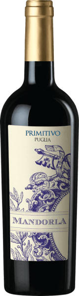 The Primitivo of Mandorla is a fine spicy, fruity and soft red wine from the Italian wine region of Puglia. This wine is presented in a powerful, bright red colour. Fruity aromas of red berries (raspberries), black cherries matched with a delicate spicy pepper note and nuances of dried fruits fill the nose. On the palate, this Italian red wine is wonderfully round thanks to soft tannins. The juicy, powerful taste reveals dark berries (blackberries and blackcurrants) and leads to a long, pleasant aftertaste. Overall, the Primitivo of Mandorla is a harmonious and complex drop. Vinification of the Mandorla Primitivo Puglia After careful harvesting of the Primitivograpes from the Mandorla winery, the harvested material is first destemmed, mixed and the resulting mash fermented under temperature control in stainless steel tanks. The mash is finally squeezed and this wine is stored partly in steel tanks and partly in large wooden barrels, where this red wine is rounded off and finally filled onto the bottles. The Mandorla Primitivo will then come to us in Germany. Food recommendation for Primitivo Mandorla We recommend this dry red wine from Italy with antipasti, pizza, pasta, strong (also grilled) meat dishes and matured cheese.