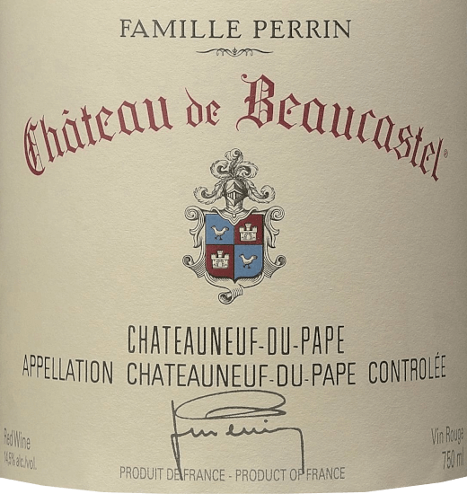 The Château de Beaucastel from Perrin & Fils from the French AOC Châteauneuf du Pape in the southern Rhône Valley is an excellent, expressive and elegant top-quality red wine cuvée made from the grape varieties Mourvèdre, Grenache, Syrah, Counoise and other approved red varieties. In the glass this wine shimmers in a deep Bordeaux red with rich cherry red highlights. The wonderfully elegant nose reveals an intense bouquet of ripe cherries, blackcurrants and floral notes of violets, aromatic herbs (bay leaf), a touch of spices and the finest hints of chocolate. This French red wine convinces the palate with its incredibly elegant character. The tannins are ripe and fine, beautifully dense and concentrated structured. This perfectly underlines the seductively velvety texture, which is reinforced by finely spiced fruit. The finish is wonderfully long, sustained by elegant as well as enveloped tannins and the unforgettable interplay of fruit, spices and floral notes. Vinification of the Perrin & Fils Château de Beaucastel In the beautiful Châteauneuf du Pape (situated between Orange and Avignon) is Château de Beaucastel with its 70 hectares of vineyards. The soils show up on the surface with rolled pebbles, deeper lying sand, loam and limestone. Each grape variety is picked separately and carefully by hand. Vinification takes place in oak fermenters for the reductive varieties (Mourvèdre, Syrah) and in traditional enamelled concrete tanks for the oxidative grapes (all other varieties). Once the malolactic fermentation is complete, the Perrin family marries the different varieties. Finally, this French red wine matures for 12 months in oak foudres before the cuvée is bottled. Food recommendation for the Château de Beaucastel This dry red wine from France harmonizes particularly well with dark meat dishes, strong game dishes or mushroom dishes. We recommend decanting this cuvée for at least 1 hour before drinking. Awards for the Château de Beaucastel Châteauneuf du Pape from Perrin & Fils Decanter: 95 points for 2017 Vinous: 93-94 points for 2017 Wine Spectator: 95 points for 2017 Jeb Dunnuck: 95-97 points for 2017 Robert M. Parker - The Wine Advocate: 95-97 points for 2017